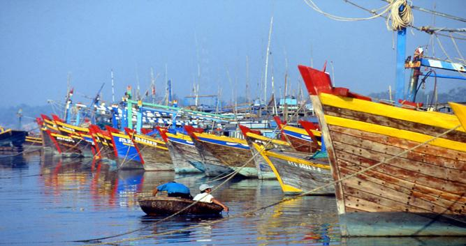 Colourful local boats, Phan Thiet, Vietnam