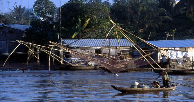 Local village and fishermen, Chau Doc, Mekong Delta, Vietnam