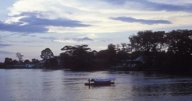 Boat floating on the river, Kuching, Sarawak, Borneo