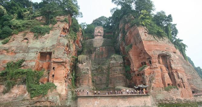 View-from-distance-of-seated-Buddha-Leshan-near-Chengdu-China