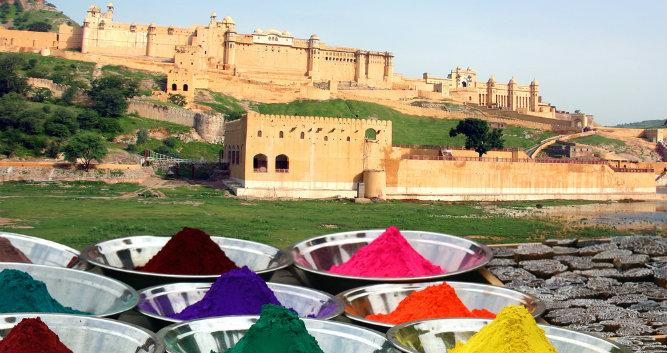 Colourful powders in fromt of Amber Fort, Jaipur, India