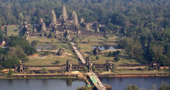 Birds eye view of Angkor Wat, Siem Reap, Cambodia