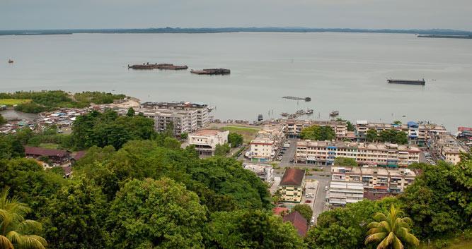 View of Sandakan town, Sabah, Borneo