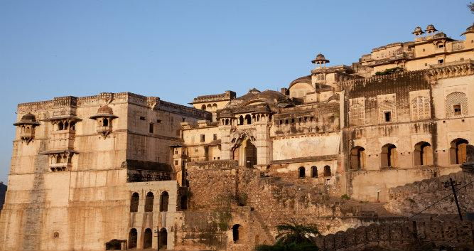 The outer walls of Bundi Palace, Bundi, India