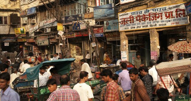 Crowded Indian street, Delhi, India