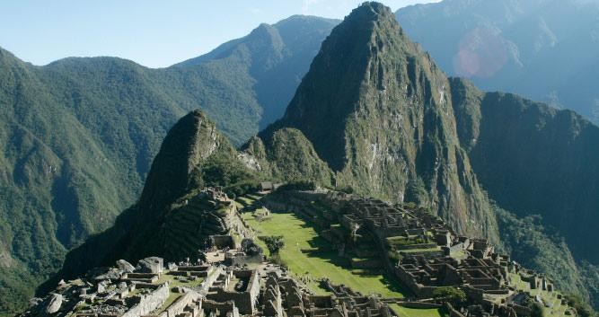 distand view of Machu Picchu, Peru