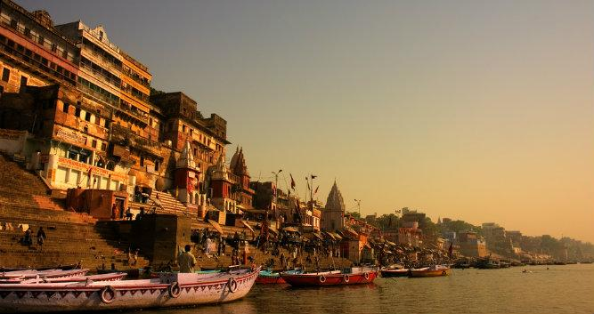 Ghats in the ancient city of Varanasi, India