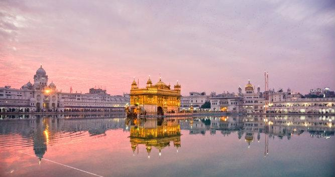 Golden Temple at sunset, Amritsar, India