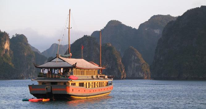 Luxury junk cruising on Halong Bay, Vietnam