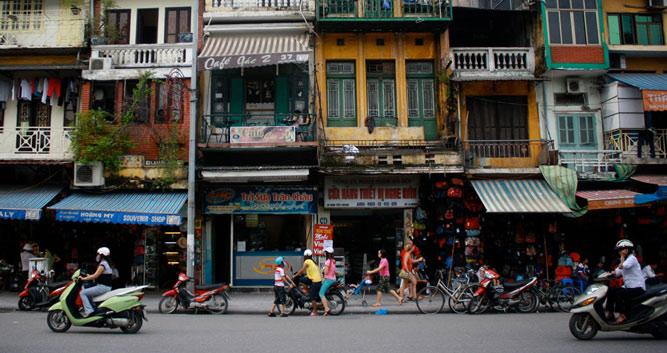 Bustling street in the old quarter, Hanoi, Vietnam