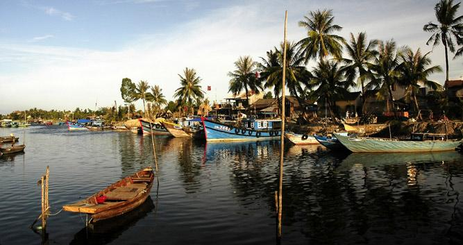Boats in the harbour, Hoi An, Vietnam