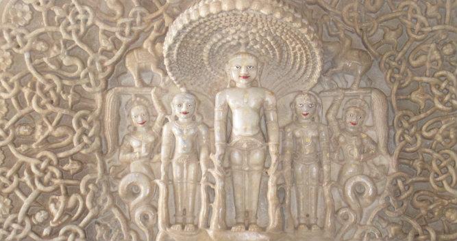 Ornate carvings inside the temple, Ranakpur, India