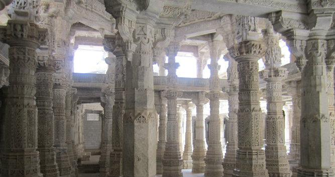 Carved columns within the temple, Ranakpur, India