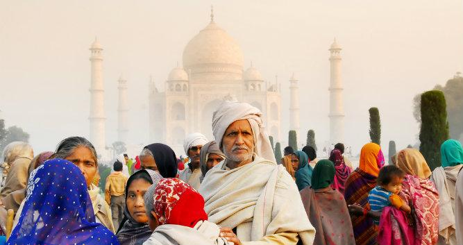 Indian visitors at the Taj Mahal, Agra, India