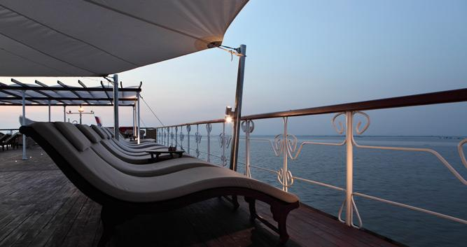 Sun deck on the Jayavarman, luxury Mekong cruise, Vietnam
