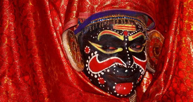 Kathakali dance mask, Kerala, Southern india