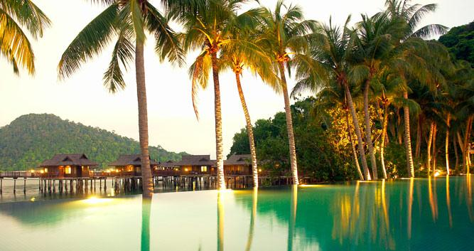 Palm trees by the pool, Pangkor Laut, Malaysia
