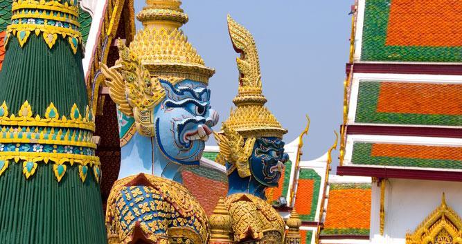 Colourful statues, Royal Palace, Bangkok, Thailand