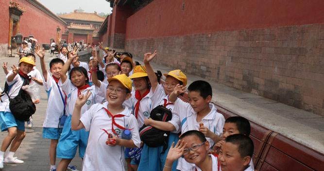 Local School kids at Forbidden City, Beijing in Luxury China Travel