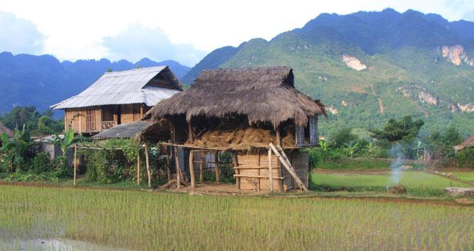 Village houses on stilits, Mai Chau, Vietnam