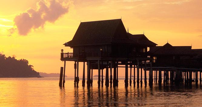 Sunset over the water bungalows, Pangkor Laut, Malaysia