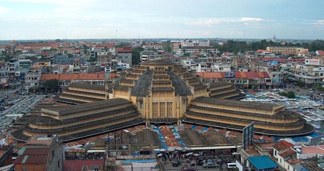 Russian market from above, Phnom Penh, Cambodia