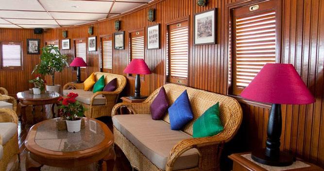 Salon onboard he RV Mekong Pandaw cruise, Vietnam