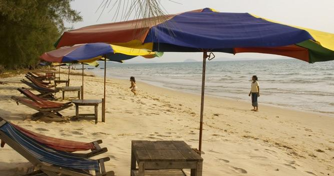 People relaxing on the beach, Sihanoukville, Cambodia