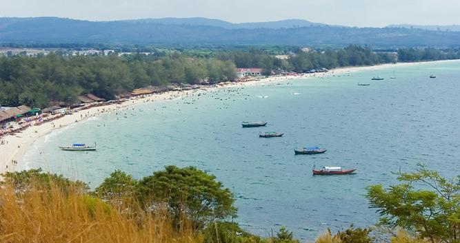 View across Sihanoukville beach, Sihanoukville, Cambodia