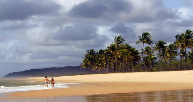 Picturesque, palm-fringed beaches, Bahia, Brazil