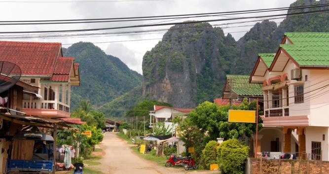 Village scene, Vang Vieng, Laos