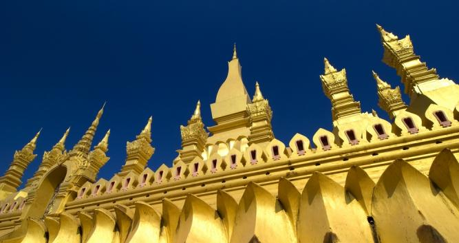 Golden wall of Pha That Luang, Vientiane, Laos