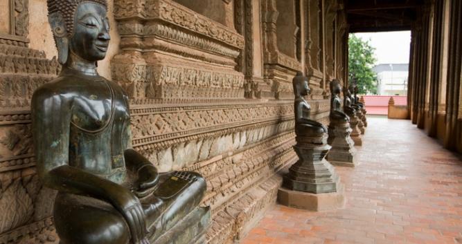 Bronze and jade Buddha statues, Vientiane, Laos