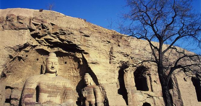 exterior-with-blue-sky-Yungang-Grottoes-Caves-Datong-Shanxi-Province-China