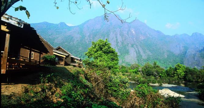 Traditional village and mountain scenery, Vang Vieng, Laos