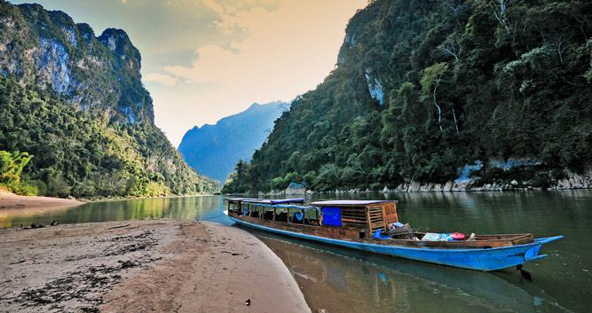 Boat floating on the Mekong, Northern Laos
