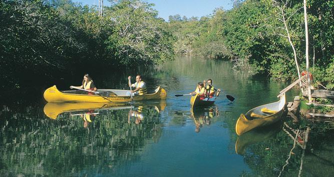 Canoeing Bonito's rivers, Brazil