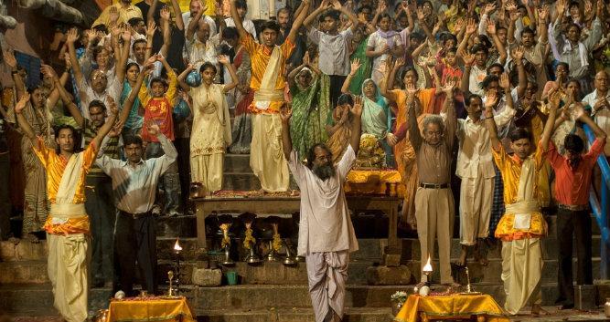 Ganga puja ceremony, Varanasi, India