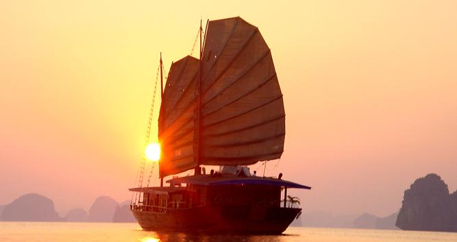 Luxury junk at sunset, Halong Bay, Vietnam