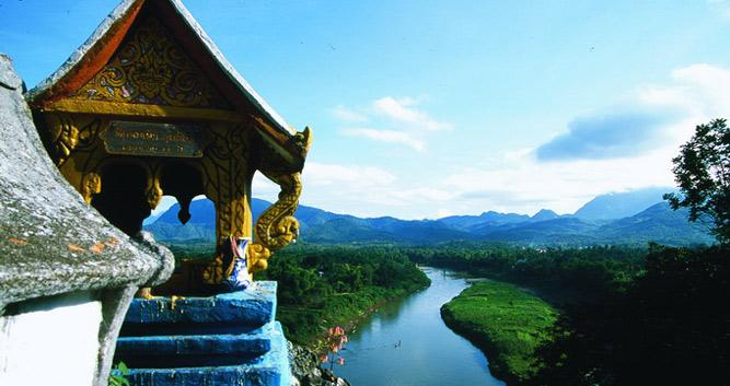 Temple overlooking the river, Luang Prabang, Laos