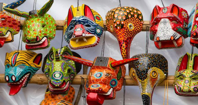 Traditional, wodd-sculpted masks