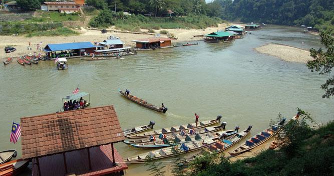 Floating restaurants, Taman Negara National Park, Malaysia