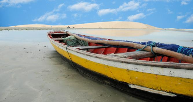 A fishing boat abandoned on the sands at Jericoacoara, Brazil
