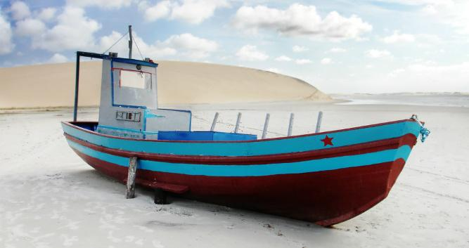 Fishing boats on the sands at Jericoacoara, Brazil