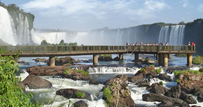 Walkway across the Devil's Throat Waterfall, Iguassu, Brazil