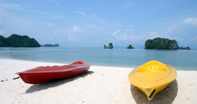 Kayaks on the beach, Langkawi, Malaysia