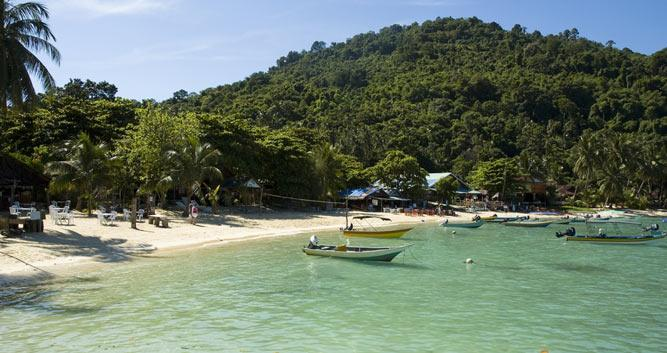 Boats in the water off the beach, Perhentian Islands, Malaysia