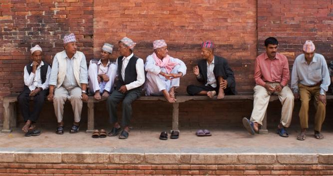 Nepalese men chatting, Kathmandu, Nepal