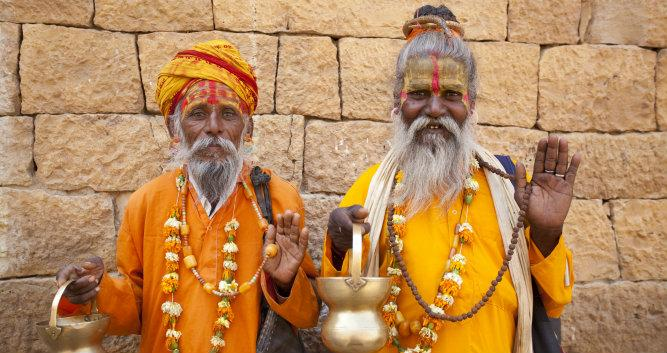 Image of Jain Priests welcoming salute, Jaisalmer, India - Luxury India Travel