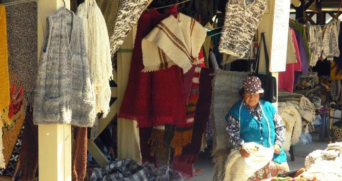 Chilean native in her shop, Chile, South America